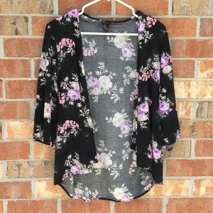 Forever 21 Women Cardigan Knit Black Floral Small